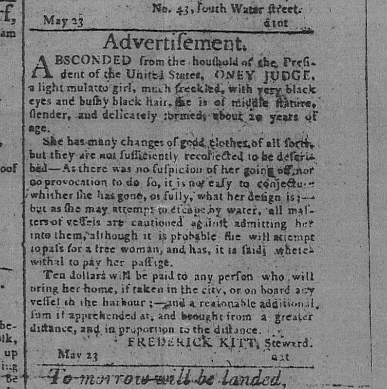 photo 1796 Runaway Ad for Oney Judge one of 9 enslaved Africans held by Washington at the Philadelphia Presidents House
