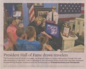 2016-09-27 President Hall of Fame draws travelers Orlando Sentinel Clermont Florida sm PHOF WHR