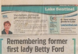 2011-04-27 Orlando Sentinel Remembering former first lady Betty Ford Clermont Florida sm PHOF WHR