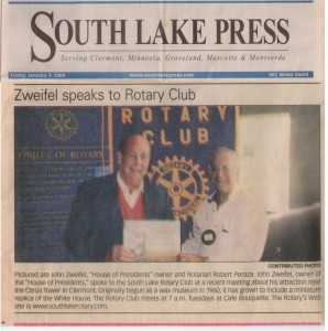 2008-01-04 South Lake Press Zweifel speaks to Rotary Club PHOF