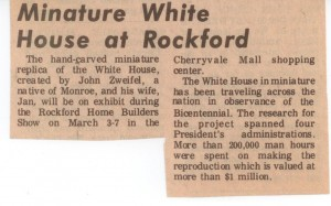 1976-03-01 NEWSPAPER unknown Miniature White House at Rockford Rockford IL WHR