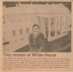 1976-03-25 Chicago Sun Times Tiny version of White House small WHR